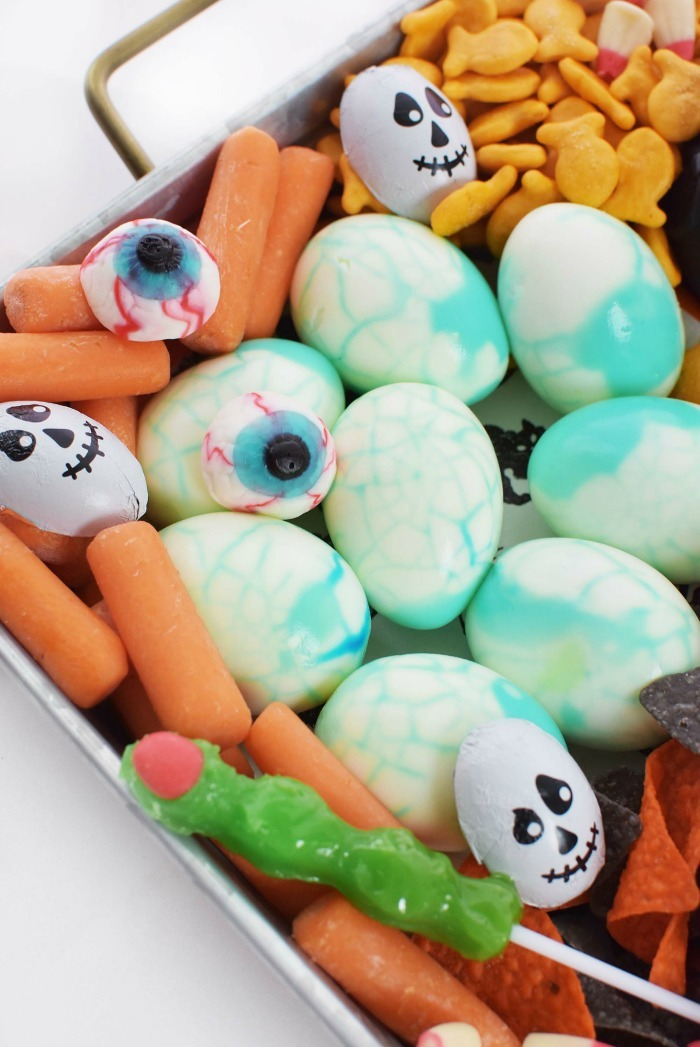 Creepy Boiled Dragons Eggs in Halloween tray.