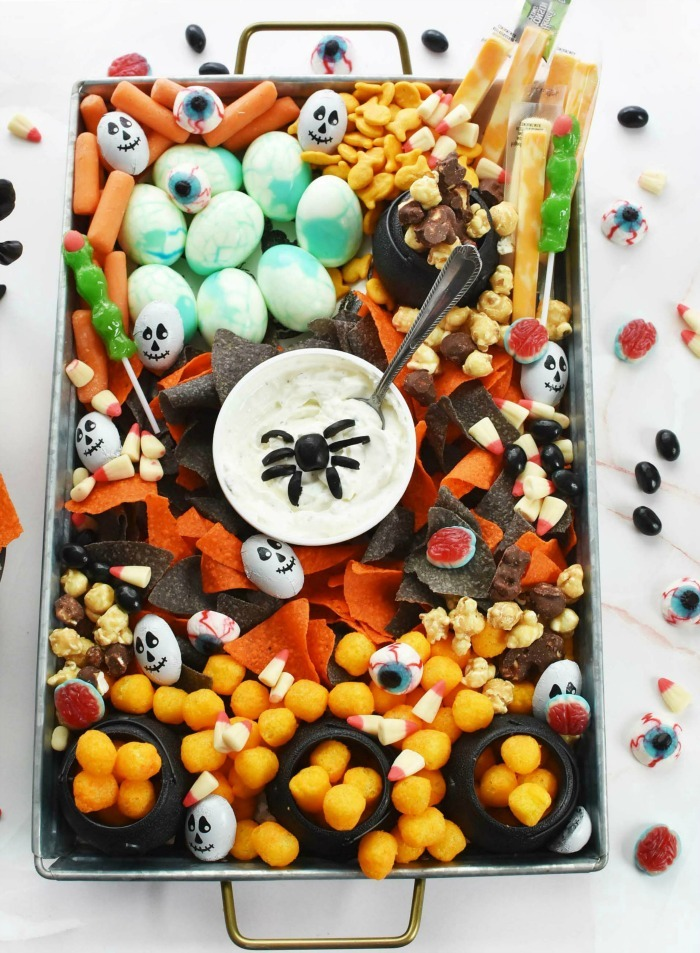 Halloween Snack Tray with dip and chips.