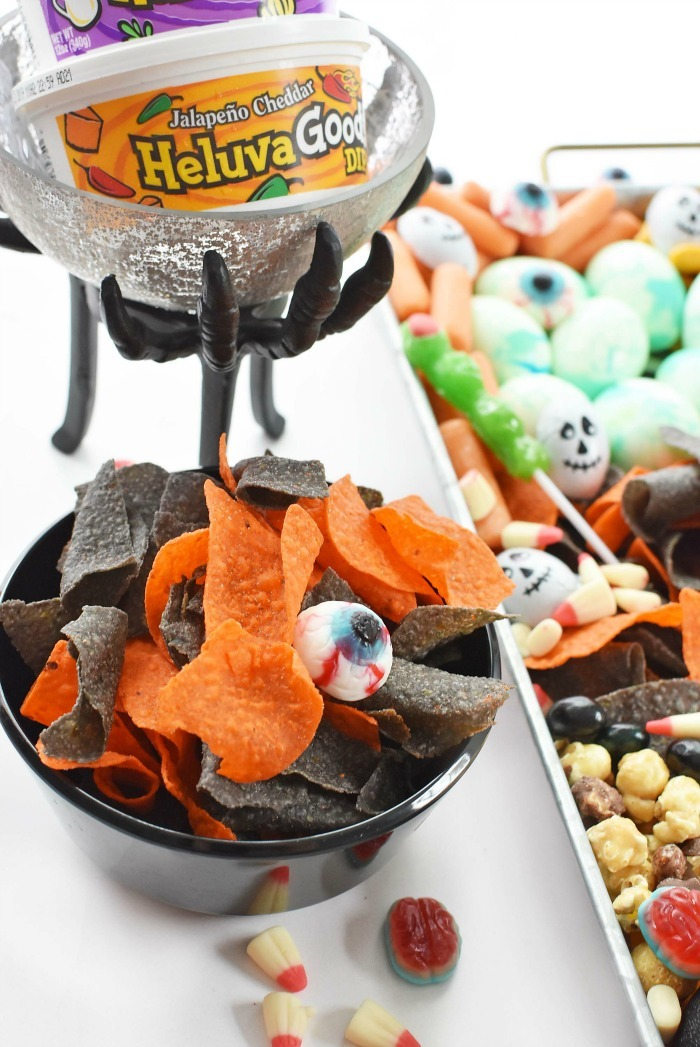 Halloween Tortilla Chips with Halloween  snack tray.