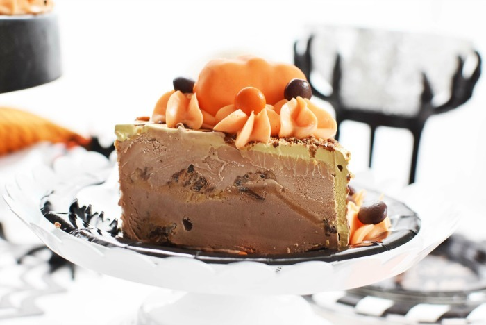 Ice Cream Cake Slice with Pumpkins