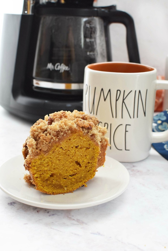 Pumpkin Coffee Cake Slice with cup of coffee.