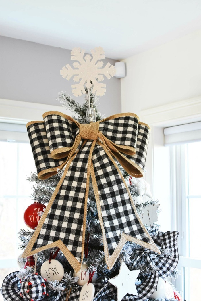 Farmhouse buffalo plaid tree bow and snowflake topper.