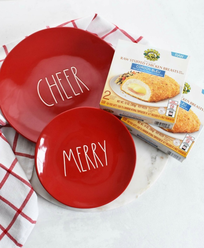 Merry and Cheer red plates with Barber chicken.
