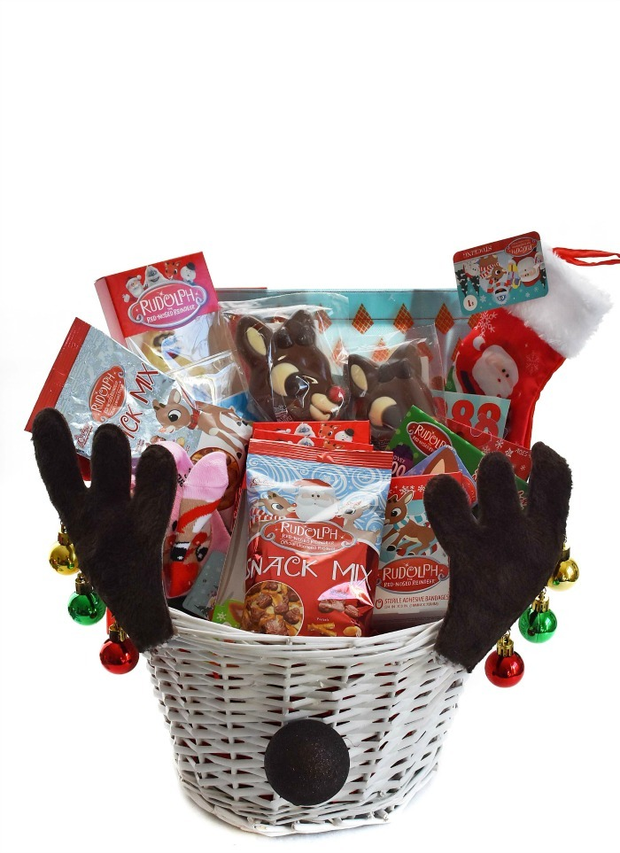 Reindeer Christmas Gift basket with antlers and goodies.