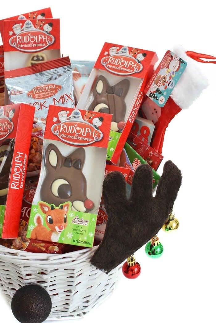 Reindeer Gift Basket up close shot of candies.
