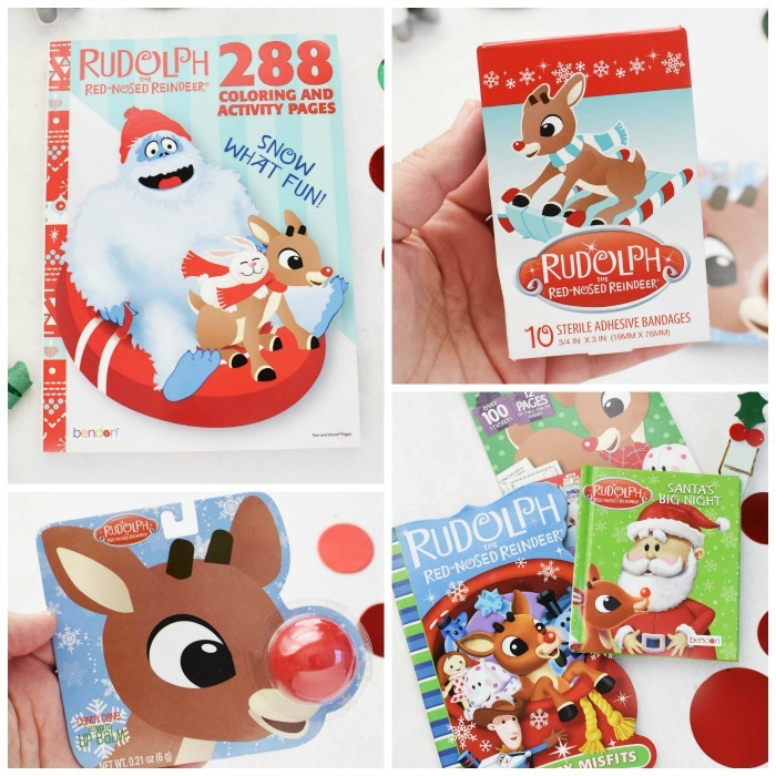 Rudolph Christmas Basket Fillers in collage shot- various stocking stuffers.