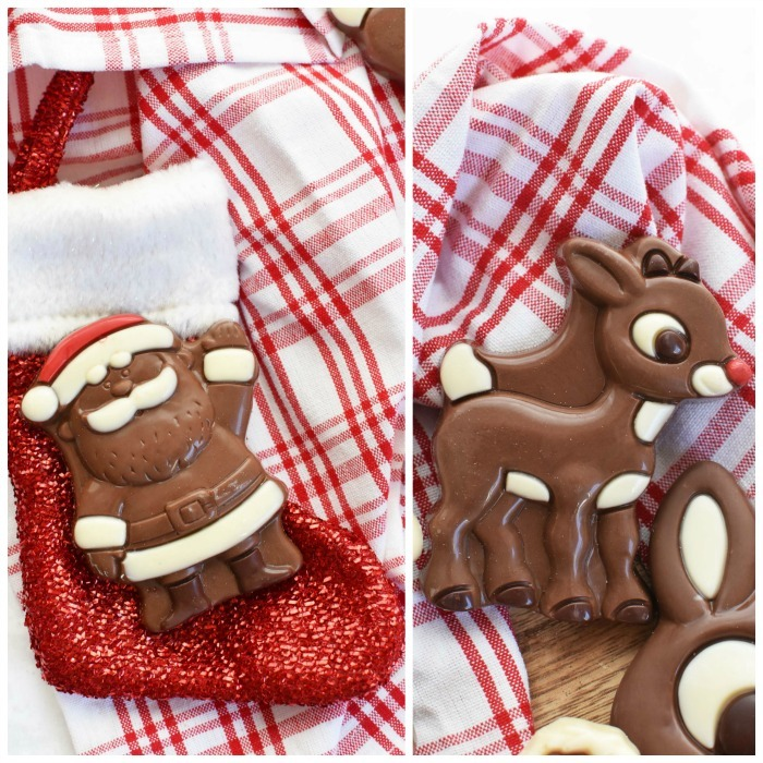 Rudolph Christmas Chocolates on table with red plaid napkin.