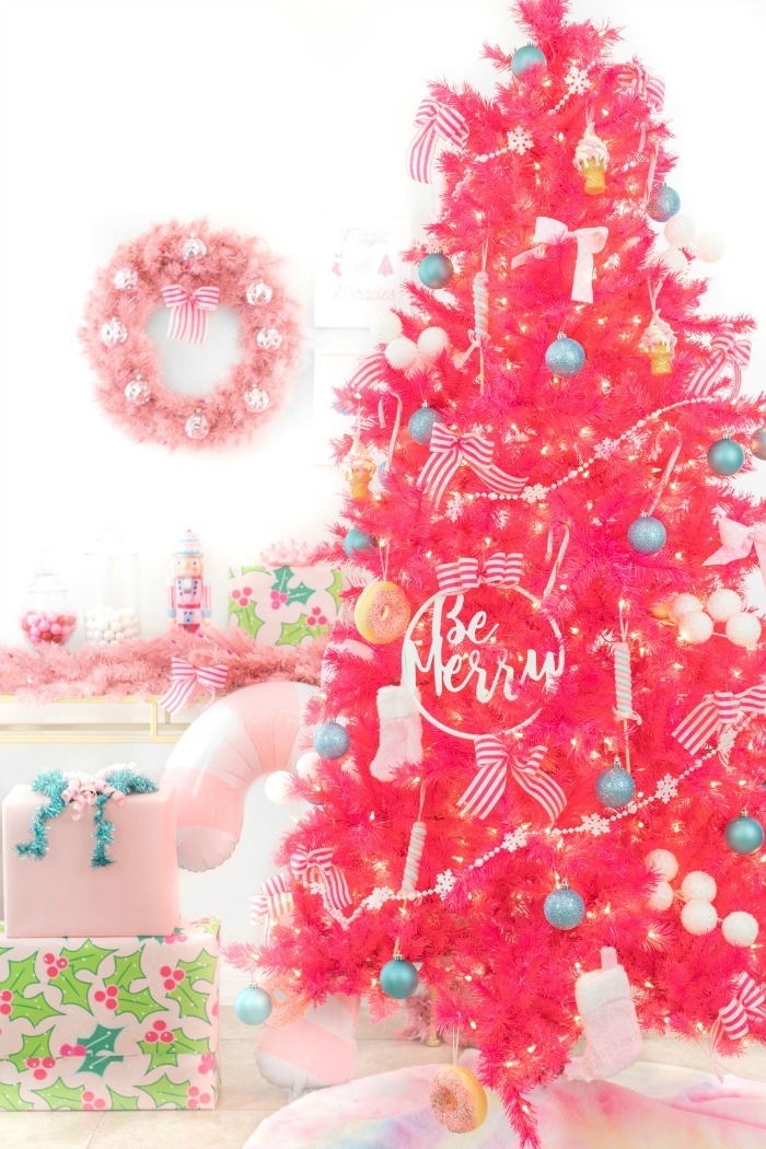 Bright pink Christmas Tree.
