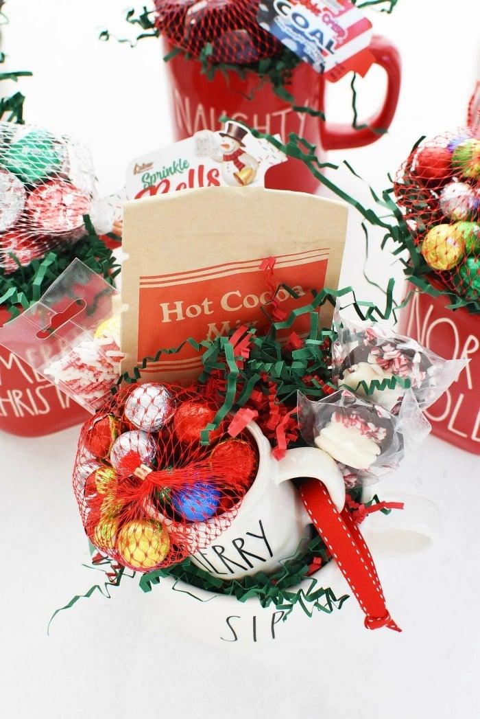 Hot Cocoa Mug DIY gift on a white table.