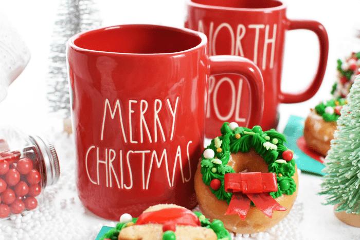 Merry Christmas Mug & wreath donuts.