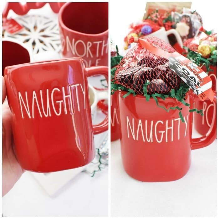 Naughty Christmas mug with chocolate.