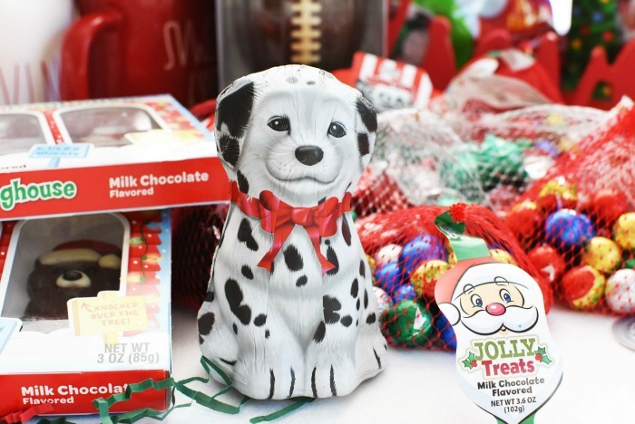 Palmer Dalmatian Chocolate on white table with candies.