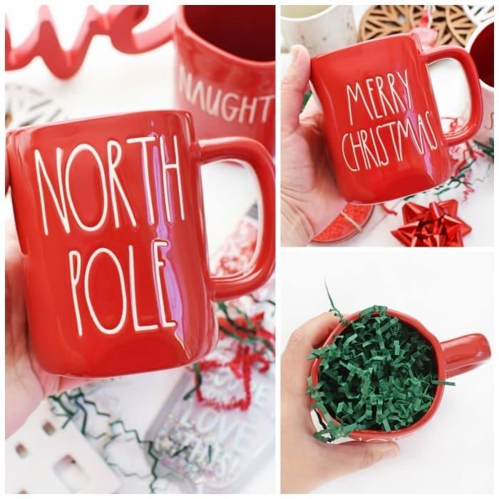 Rae Dunn Christmas Red Mugs in hand.