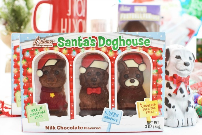 Santa's Doghouse Chocolate on a white table.