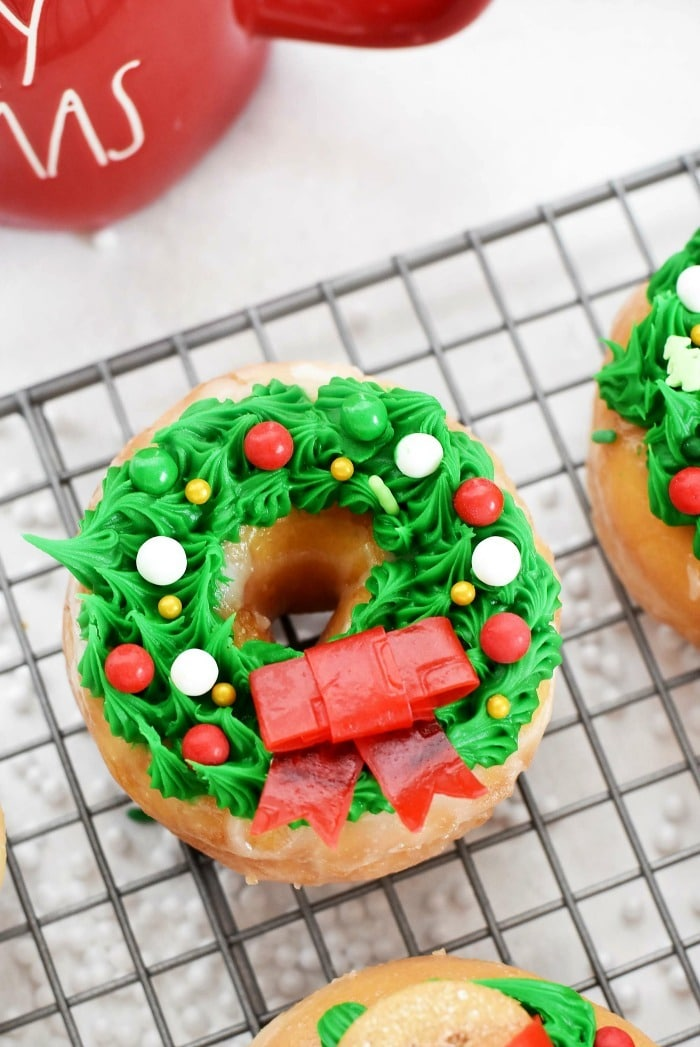 Wreath Donuts on a baking sheet.