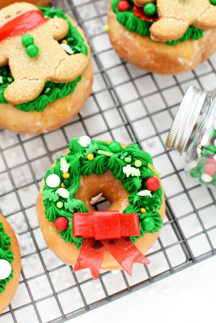 Wreath Donut on baking sheet.