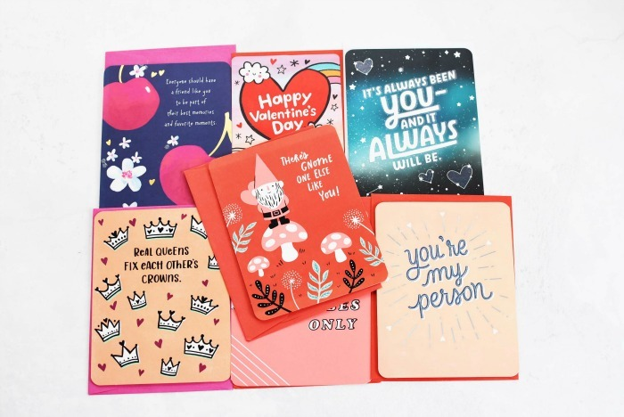 American Greetings Valentines Day friend cards on a white table.