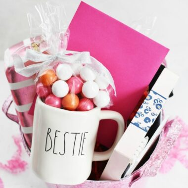 Pink Bestie Gift Basket filled with Valentine's Day gifts.