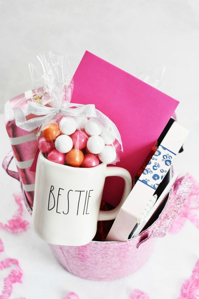 Bestie Gift Basket and mug filled with gumballs.