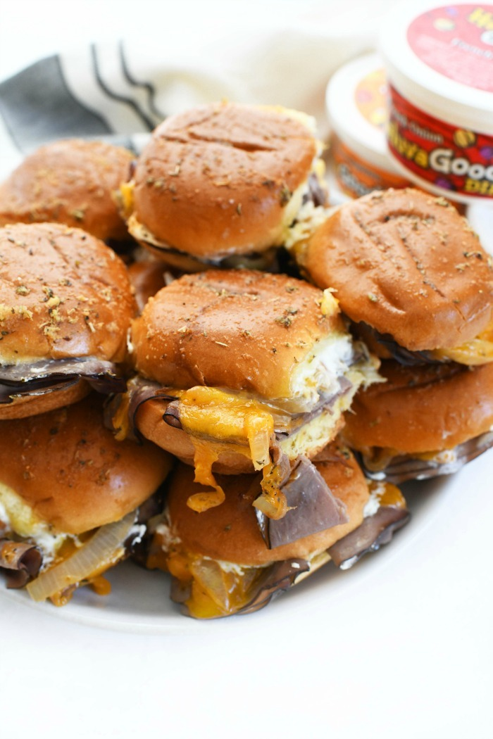 Cheddar & Roast Beef Onion Sliders on platter.