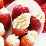 Cheesecake Stuffed Strawberries on plate
