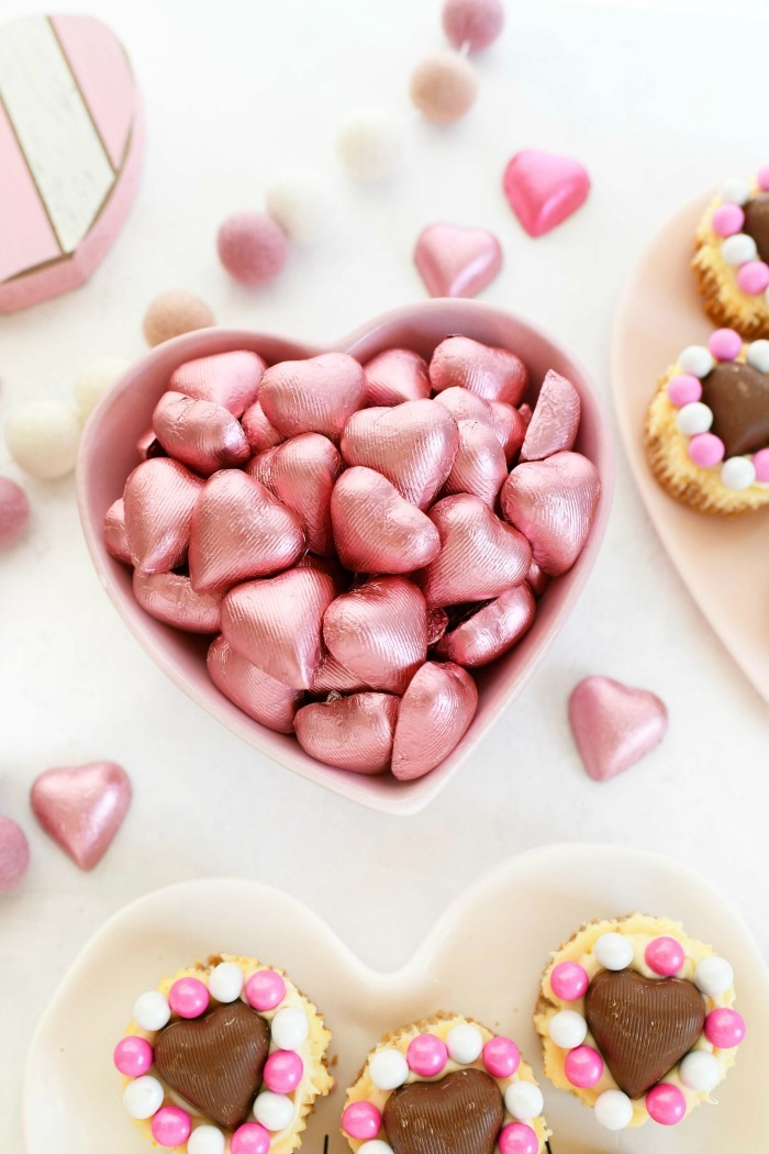 Foiled Pink hearts in dish.