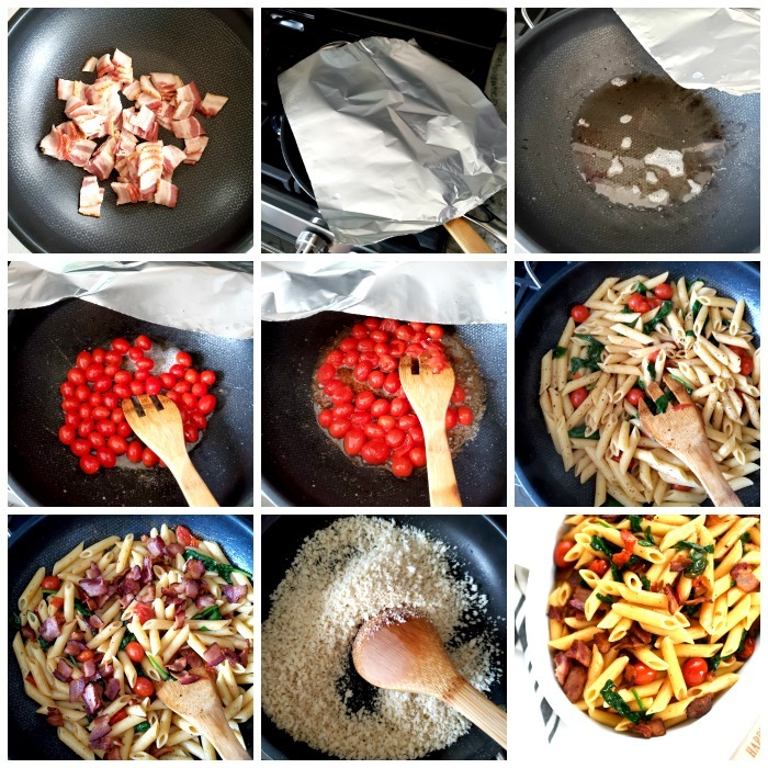 How to make BLT pasta process shots in a collage grid showing each cooking step.