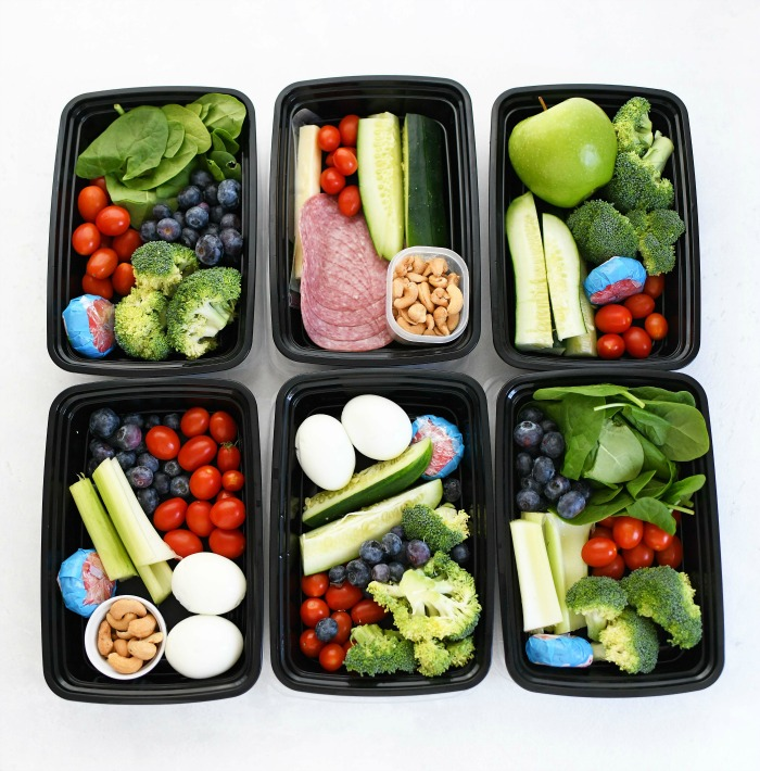 Keto lunch ideas in meal prep containers.
