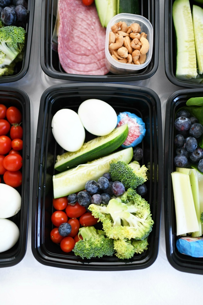 Low carb meal prep containers with food.