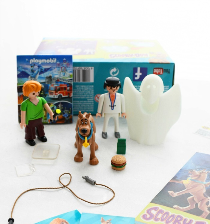 Scooby Doo toys Playmobil toys on a white table.