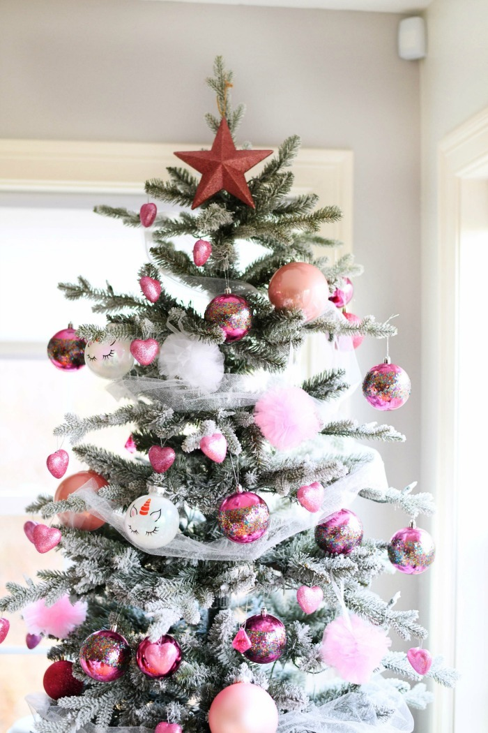 Valentine Tree with pink and white decorations.