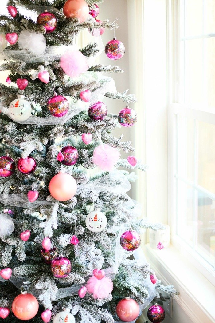 Valentines Day Christmas Tree with different shades of pink balls.