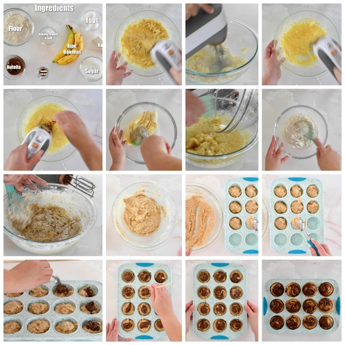How to Make Banana Nutella Swirl Muffins recipe process shot grid