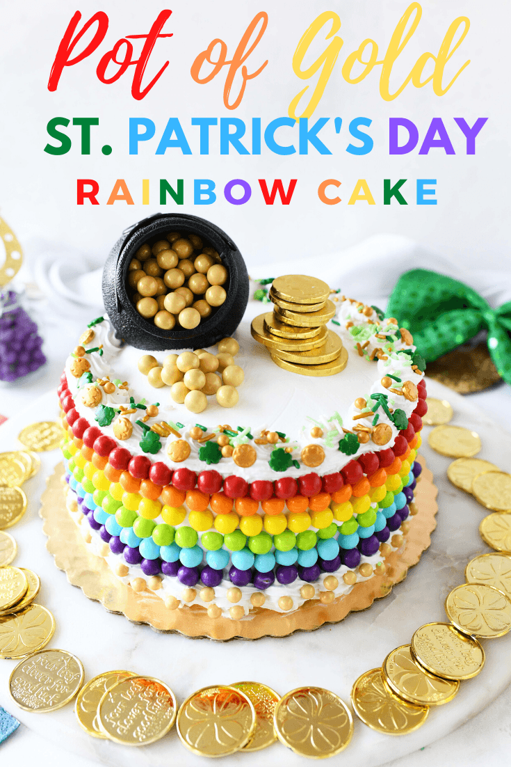 Easy St. Patrick\'s Day Pot of Gold Rainbow Cake