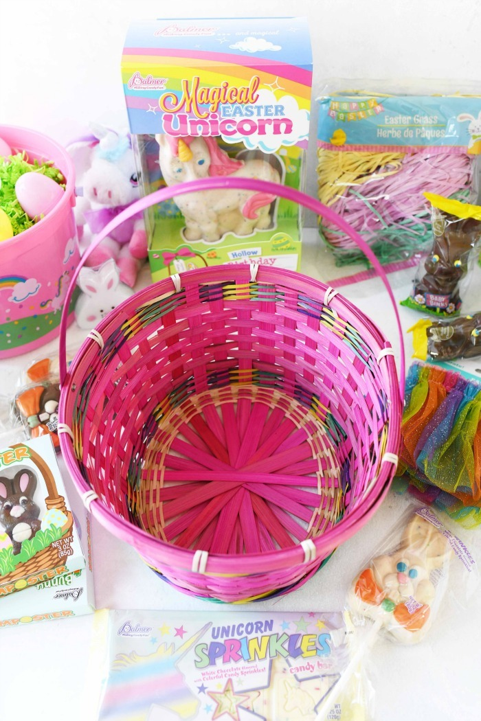 Colorful pink Easter Basket.