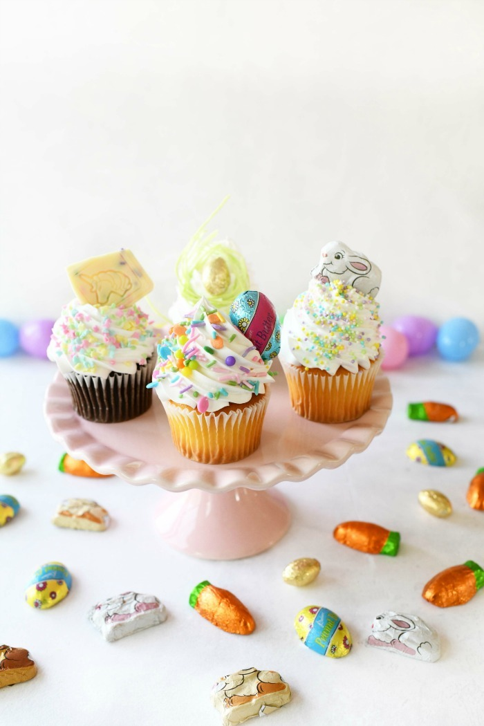 Easter Cupcake on pink stand.