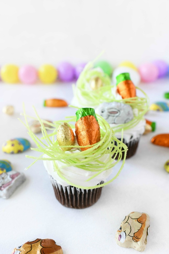 Easter Grass Cupcake on white table.