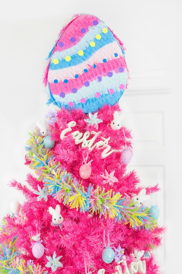 Easter Tree Pinata on pink Easter tree.