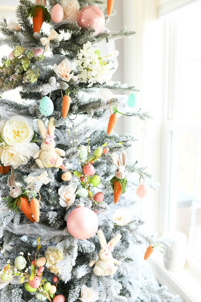 Farmhouse Easter Tree up close with decor.