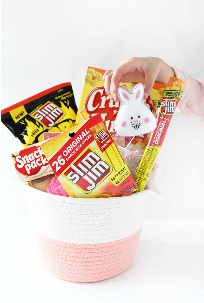 Pink Girl Easter Basket with snacks and toys going inside.