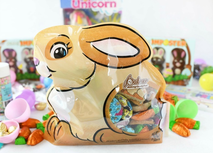 Hoppy Bunny mix bag filled with chocolates on white table.