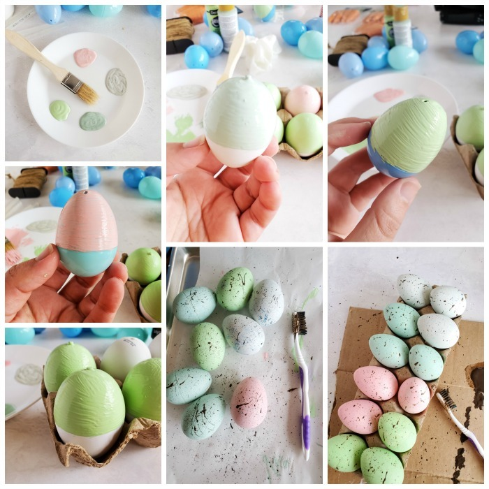 How to Make Speckled Eggs Decor grid of step by step images.