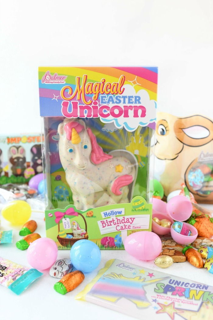 Magical Easter Candy Unicorn on white table with Easter candies.