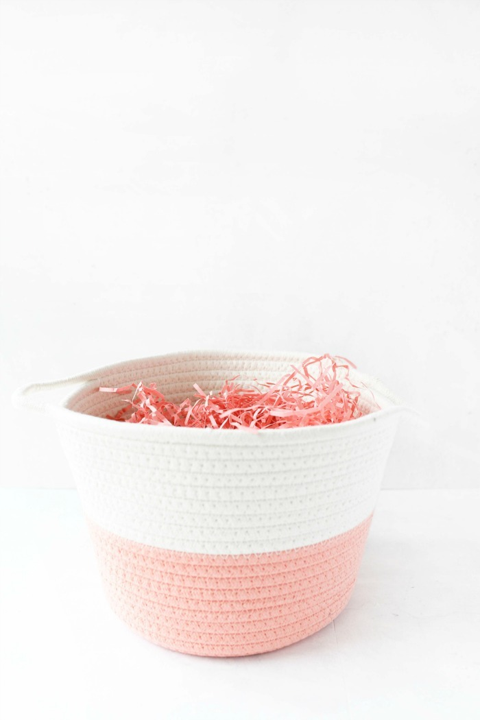 Pink Woven Easter Basket with pink filler.