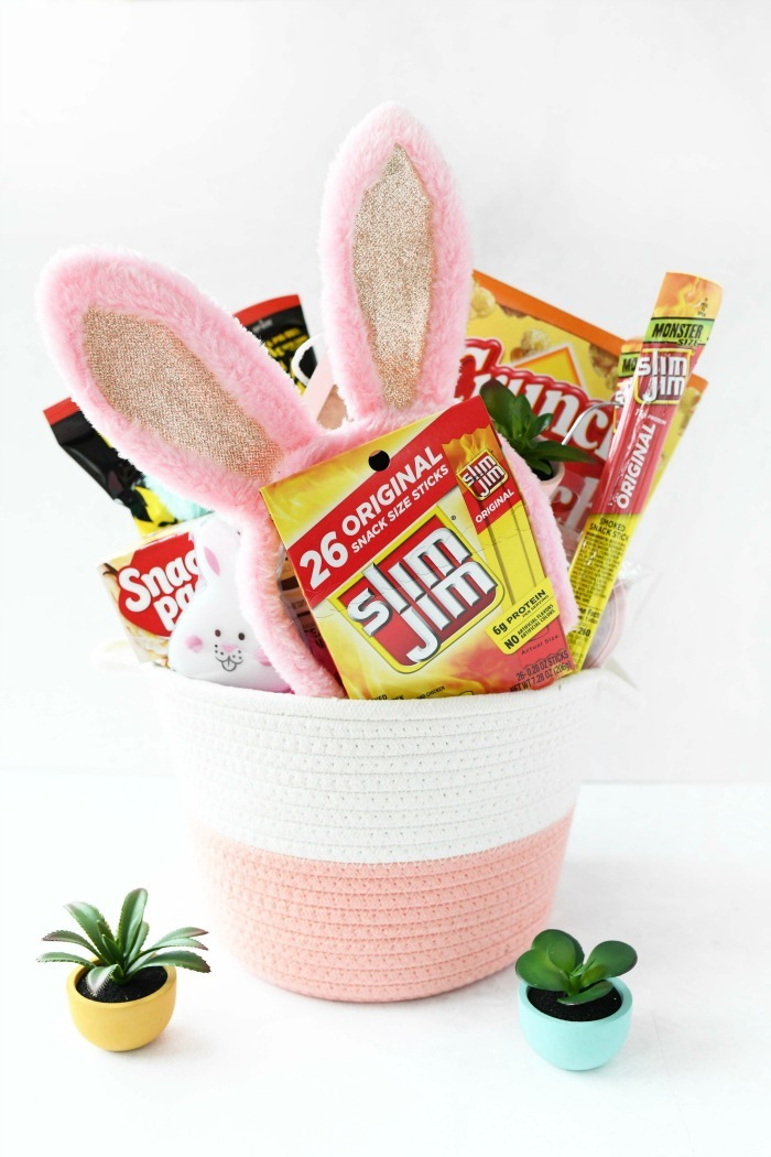 Tween Easter Basket filled with Slim Jim snacks.