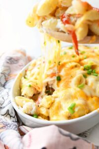 Crab Meat Pasta Casserole with a cheese pull