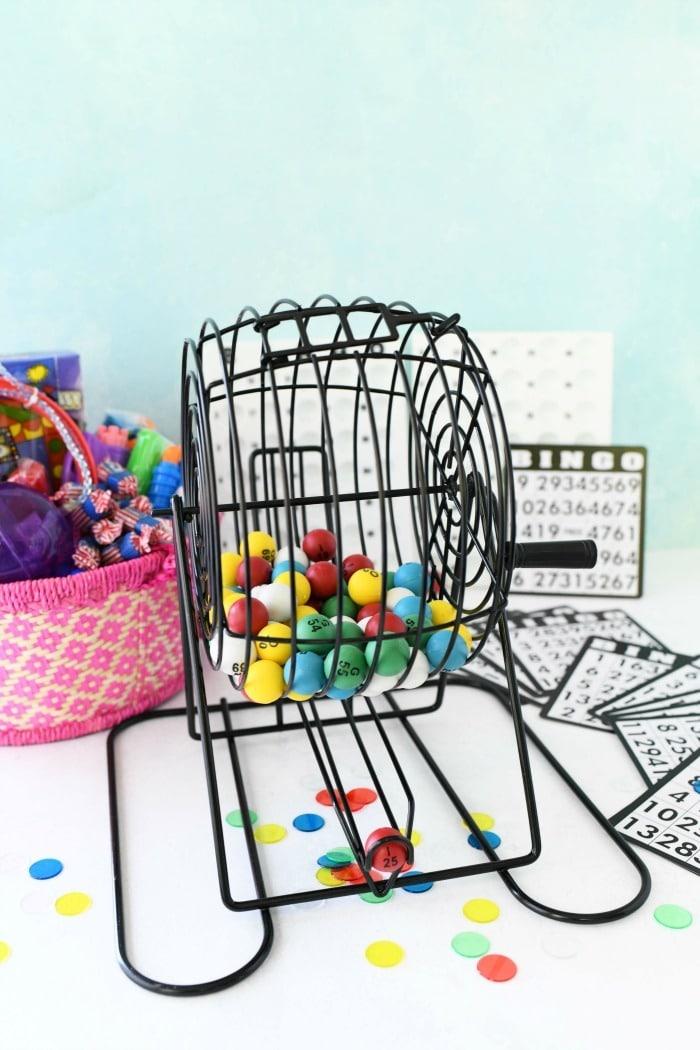 bingo machine with balls on table.