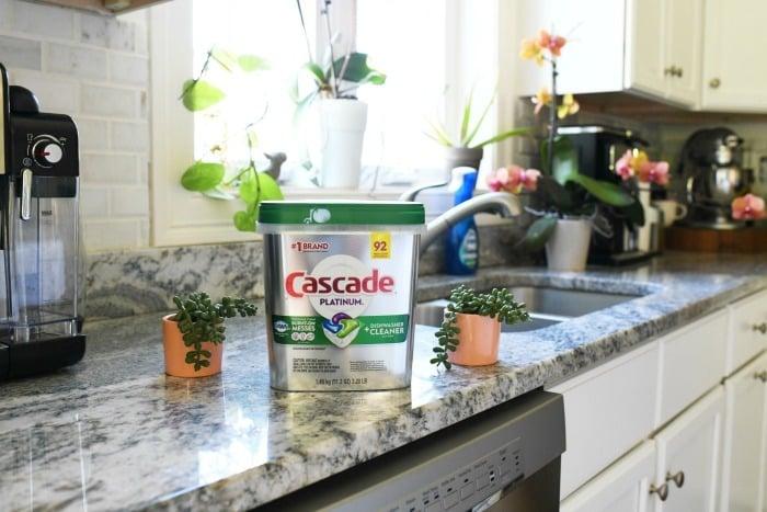 Cascade Platinum on kitchen counter.