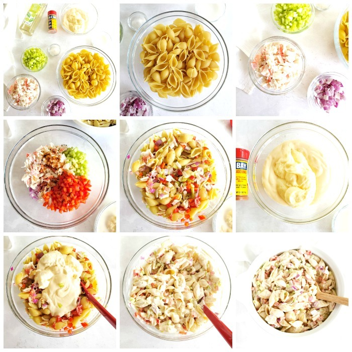 How to make seafood pasta salad grid of the process. Each step of creation is shown with 9 images total.