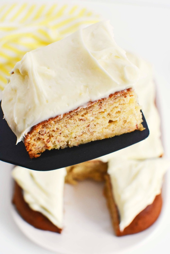 Slice of Banana Cake on black spatula.